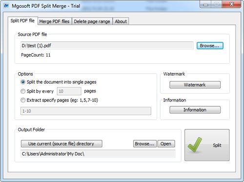 Mgosoft PDF Split Merge screenshot