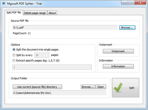 Screenshot of Mgosoft PDF Spliter