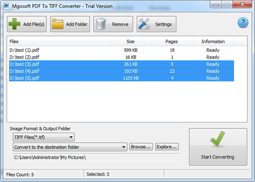 Mgosoft PDF To TIFF Converter Screen shot